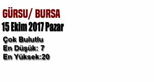 Bursa'da bugün hava nasıl olacak? (15 Ekim 2017 Pazar)