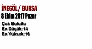 Bursa'da bugün hava nasıl olacak? ( 8 Ekim 2017 )
