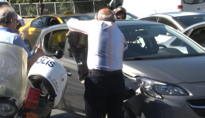Motorize polis ekipleri kaza yaptı