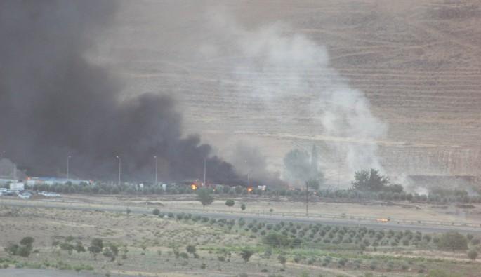 Kilis'te askeri konteynerdeki yangın kontrol altına alındı