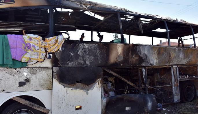 Kastamonu'da 46 yolculu otobüs alev alev yandı