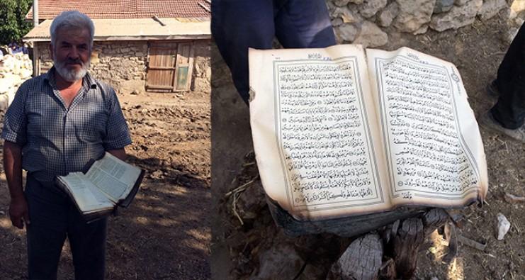 Yangında kül olan evde sağlam kalan tek şey Kur'an-ı Kerim
