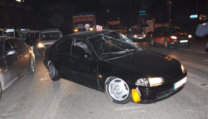 Bursa'da arabasını aldığı gün kaza yaptı