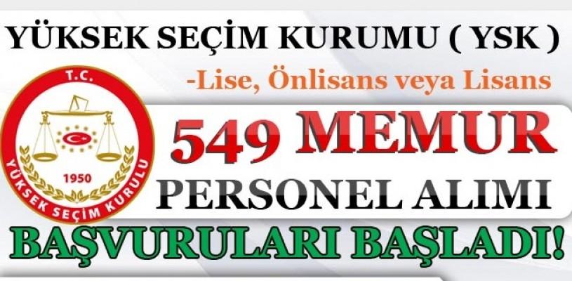 YSK 549 Memur personel alım Başvuruları başladı!