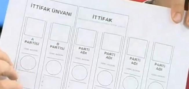 İşte seçimlerde kullanılacak oy pusulası