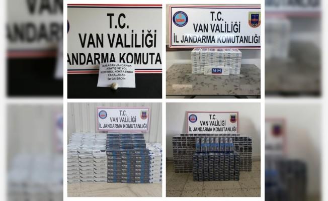 Van'da 15 bin 910 paket kaçak sigara ile 60 gram eroin ele geçirdi