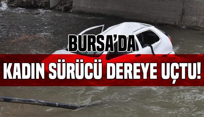 Bursa'da kadın sürücü dereye uçtu!