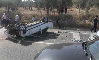 Araç takla atarak karşı şeride geçti: 5 yaralı