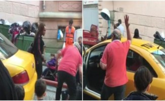 Trafiğe giren taksici sinirini turistten çıkardı!