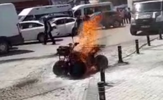 ATV motoru alev alev yandı
