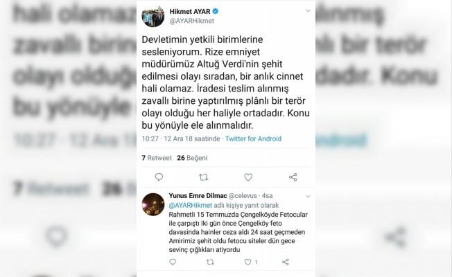 Eski AK Parti Rize Milletvekili Ayar'dan dikkat çeken paylaşım