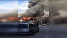 İnşaat işçilerinin kaldığı ev yandı