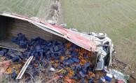 Mandalina yüklü kamyon devrildi: 2 yaralı