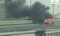 TEM'de araç yangını nedeniyle tüm şeritler trafiğe kapatıldı