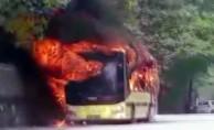 Bursa'da belediye otobüsü alev alev yandı!