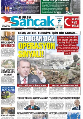 BURSA SANCAK GAZETESİ - 13.12.2018 Manşeti