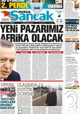 SANCAK GAZETESİ - 23.01.2017 Manşeti