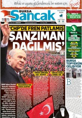 SANCAK GAZETESİ - 25.03.2017 Manşeti