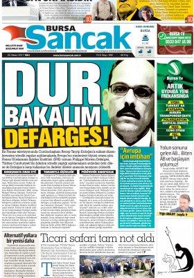 SANCAK GAZETESİ - 25.04.2017 Manşeti