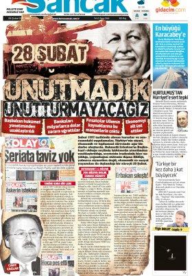 SANCAK GAZETESİ - 28.02.2017 Manşeti