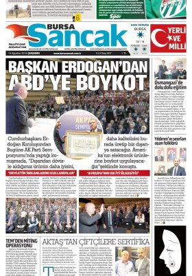 SANCAK GAZETESİ - 15.08.2018 Manşeti