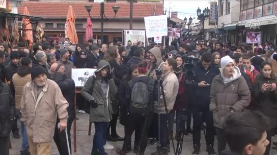 Makedonya'da Halep'e destek mitingi