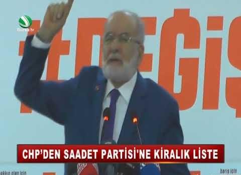 CHP'DEN SAADET PATİSİ'NE KİRALIK LİSTE