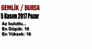 Bursa'da bugün hava nasıl olacak? (5 Kasım 2017 Pazar)