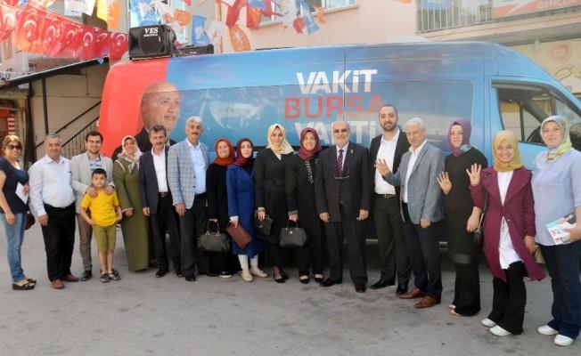 AK Parti milletvekili adayı Yelis, seçim çalışmalarına Yenişehir'de devam ediyor