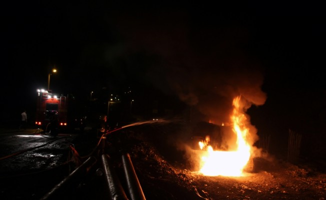 Zonguldak'ta iş makinesi yandı