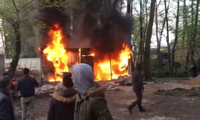 Maşukiye'de konteyner alev alev yandı