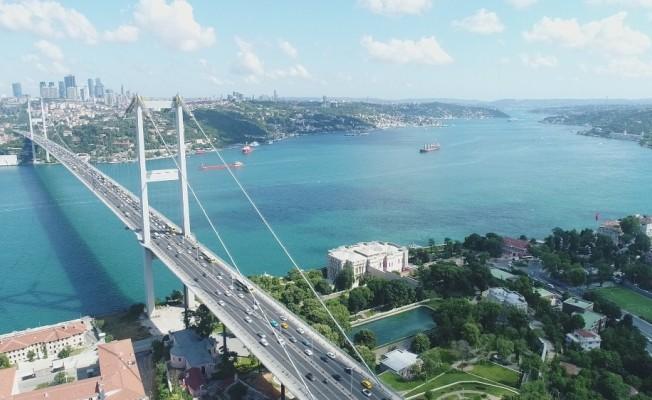 15 Temmuz Şehitler Köprüsü'nde oluşan trafik yoğunluğu havadan görüntülendi