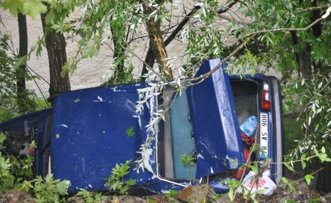 Çaya uçmaktan ağaçlar kurtardı