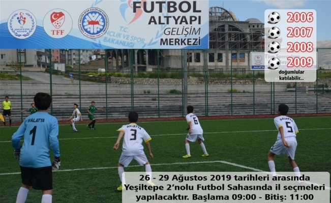 Altyapı Gelişim Projesi kapsamında futbolcu seçmeleri yapılacak