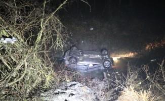 Kontrolden çıkan otomobil dereye uçtu: 3 yaralı
