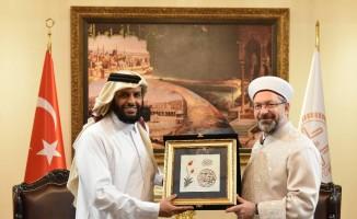 Diyanet İşleri Başkanı Erbaş, İİT İnsani Yardım Fonları Birimi Başkanı'nı Al Sani'yi kabul etti