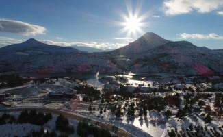 Sille Baraj Parkı ve çevresindeki kar manzarası havadan böyle görüntülendi