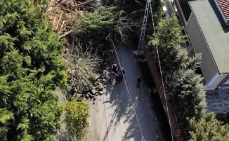 Beykoz'da çöken duvar havadan görüntülendi