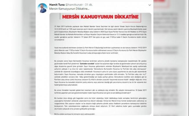 Cumhur İttifakı Adayı Tuna'dan Kocamaz'a yanıt
