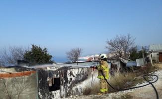 Mermer ocağında konteynır yangını