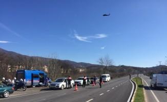 Sakarya'da helikopterli denetimlerde sürücülere ceza yağdı