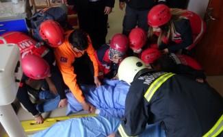Kars'ta yangın tatbikatı gerçeği aratmadı