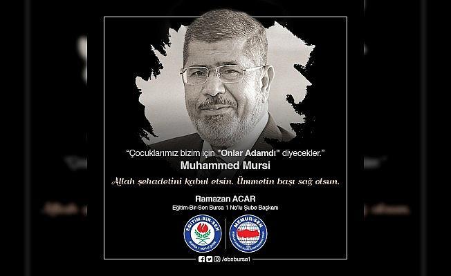 """Acar: """"Mursi, direnişin öğretmenidir"""""""