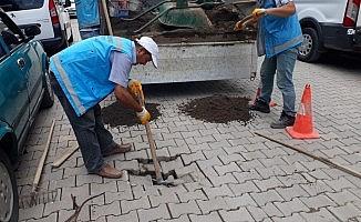 Ünye'de yağış sonrası onarım ve temizlik çalışması