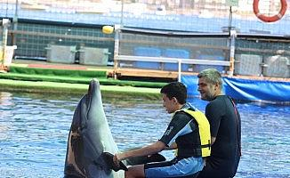 Engelli çocuklar, yunus balıkların öpücüğüyle moral buldular