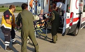 Kalp hastası askeri helikopterle Çanakkale'ye sevk edildi