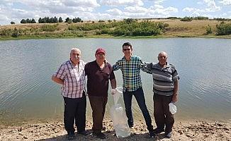 Sazan balığı yavruları gölete bırakıldı