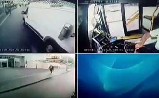 (Özel) İstanbul'da maganda, sürücüsüyle tartıştığı halk otobüsünün aynasını kırdı