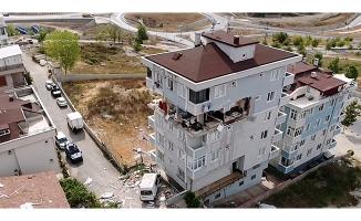 Sancaktepe'de patlamanın yaşandığı bina havadan görüntülendi