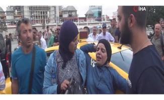 Taksim Meydanı'nda taksiciyle kadın turist arasında arbede yaşandı
